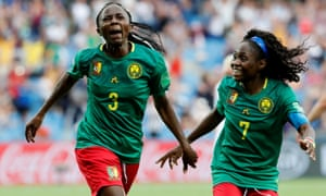 Cameroon's Ajara Nchout (left) celebrates scoring their second goal with Gabrielle Aboudi Onguene.