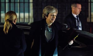 Theresa May arrives at No 10 Downing Street after making her statement to the House of Commons.