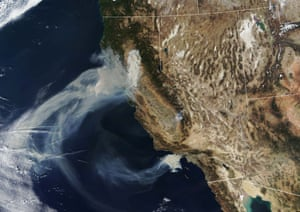 A satellite image shows how smoke is spreading.