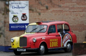A branded taxi stands outside Unilever's Marmite factory in Burton upon Trent, Britain.