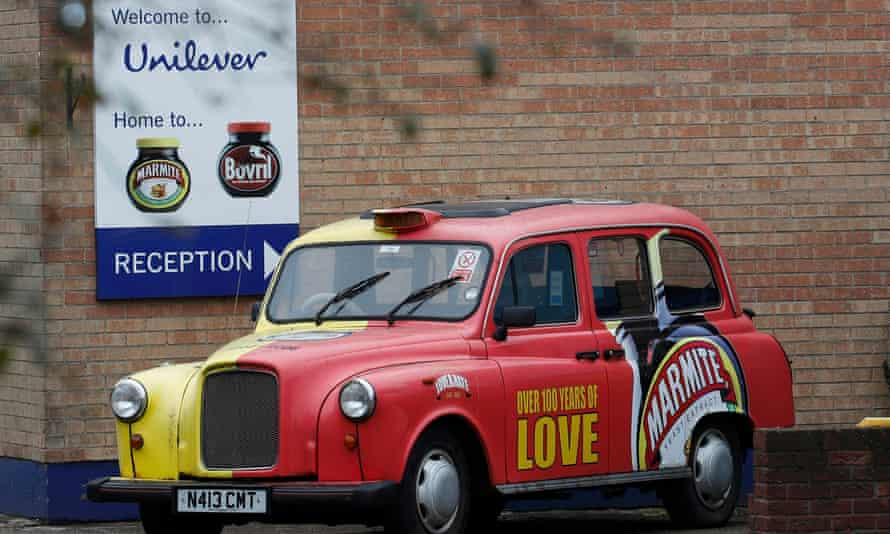 A branded taxi outside Unilever's Marmite factory in Burton upon Trent.