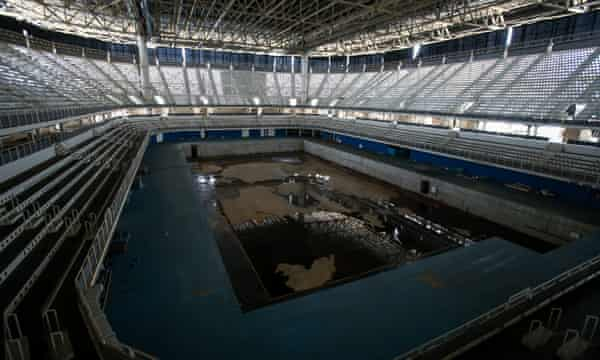 The mostly abandoned Olympic Aquatics stadium in Rio de Janeiro, Brazil, nine months after the Games.