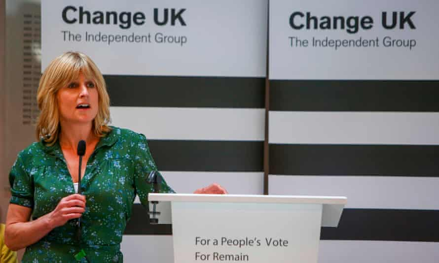 Rachel Johnson speaking at the Change UK rally in Bath