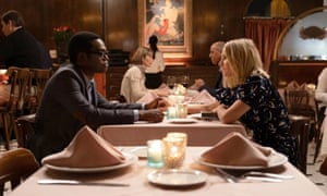'The show never forced a moral message but it carried one all the same' ... William Jackson Harper (Chidi) and Eleanor (Kristen Bell) in The Good Place.
