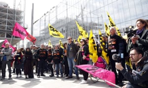 French union members demonstrating at the start of the France Télécom trial on 6 May.