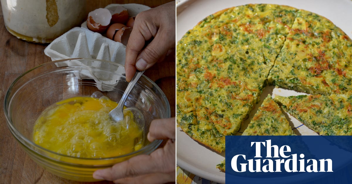 Rachel Roddy's recipe for frittata with herbs, spring onion and pecorino