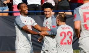 Daniel Sturridge celebrates after scoring against Manchester United on Saturday.