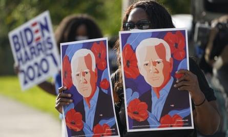 Supporters await Joe Biden's motorcade in Miramar, Florida.