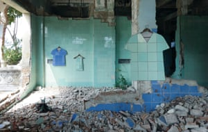 Tiles taken from abandoned buildings are transformed into hard copies of clothing by Ukrainian artist Zhanna Kadyrova.