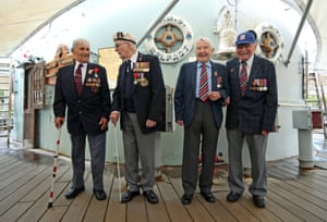 D-Day veterans onboard HMS Belfast in London