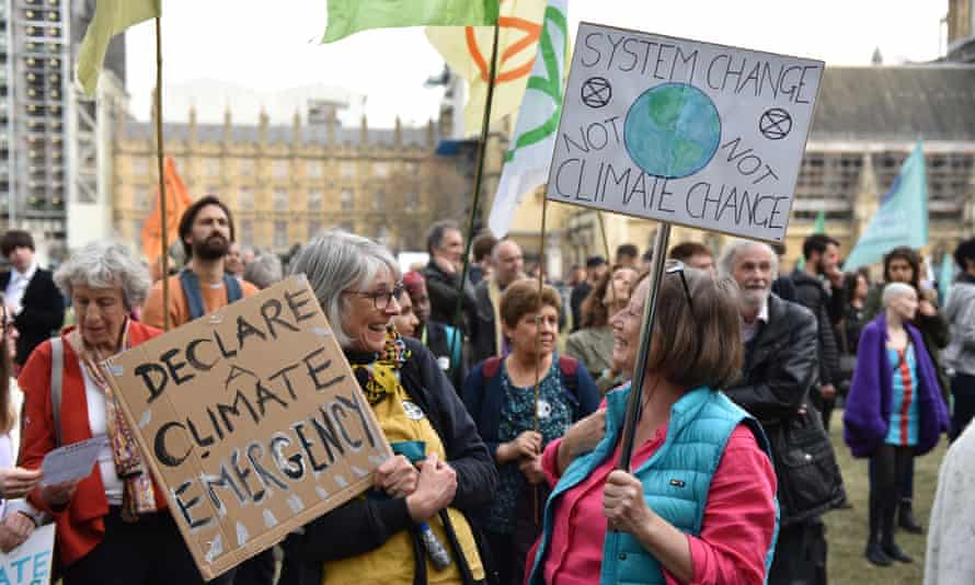 Momentum was one of the groups that organised a climate emergency protest outside parliament earlier this month