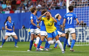 Brazil's Debinha reacts after her shot is saved.