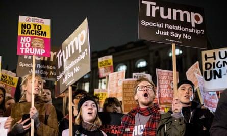 Anti-Trump demonstrators outside Downing Street