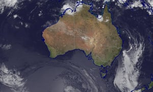 An infrared composite satellite image from 5:08am EDT showing the remnants of tropical cyclone Debbie pushing out to sea.