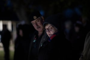 Anzac Day dawn service at Harden Cenotaph on the South-West slopes of NSW 60kms North-West of Yass NSW this morning. Sunday 25th April 2021. Photograph by Mike Bowers. Guardian Australia