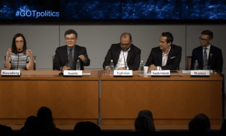 The panellists during a Cato Institute debate on Game of Thrones.