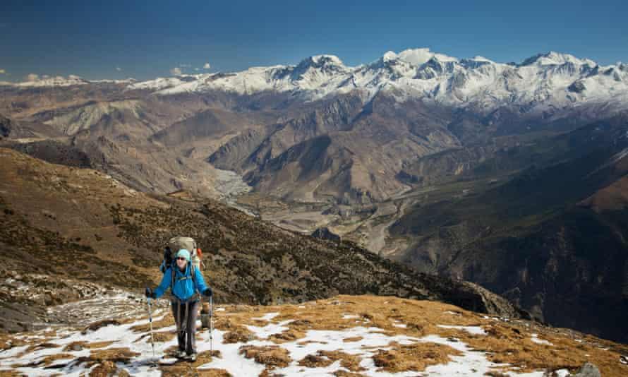 Hiker on the Dhaulagiri circuit in Nepal.
