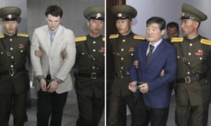 US citizens Otto Warmbier, left, and Kim Dong-chul were sentenced to hard labour last year.