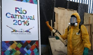 A local worker disinfects the famous Sambadrome in Rio de Janeiro, Brazil, on 26 January 2016 in an effort to protect next month's Carnival parades Zika-carrying mosquitoes.