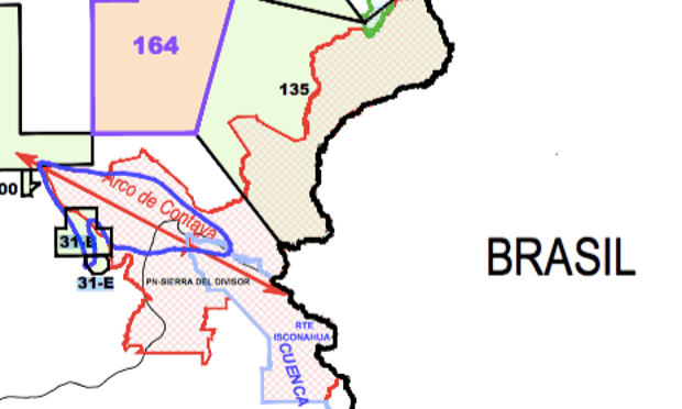 Map showing how Pacific's concession, Lot 135, with its boundaries in black and purple, overlaps the Sierra del Divisor National Park, with boundaries in red and sky blue. Photograph: Screenshot from July 2016 Perupetro map.