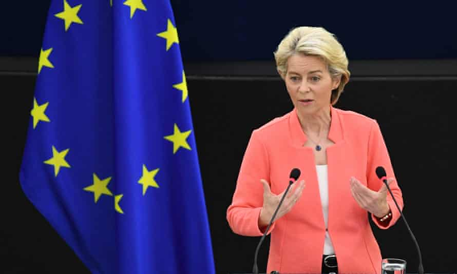 Ursula von der Leyen, president of the European Commission, delivers the state of the union address