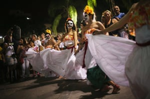 Brazil: Revellers parade through Rio de Janeiro to celebrate the national holiday Day of the Dead