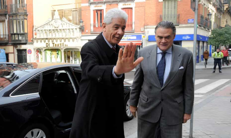 Moussa Koussa (left) arriving at the foreign ministry in Madrid in 2010.
