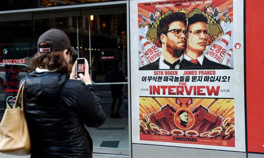 A poster of The Interview outside a theater in New York.