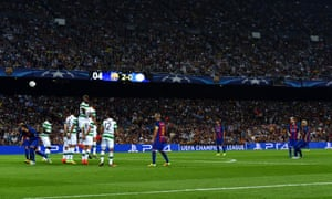 Neymar of Barcelona scores his sides third goal