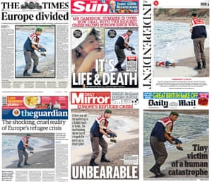 The front pages of six British national newspapers featuring the picture of Alan Kurdi.