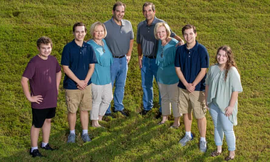 The Sanders family (from back): Craig and Mark; their wives Diane and Darlene; Diane and Craig's sons Brady and Colby, and Holden (in maroon shirt); Darlene and Mark's daughter Landry.