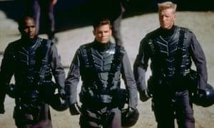 Cheerful militarism … Seth Gilliam, Casper Van Dien and Jake Busey in Starship Troopers.