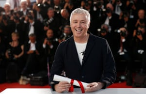 French director Robin Campillo poses during the Award Winners photocall after he won Grand Prix award for '120 Battements par Minute' (Beats per Minute)