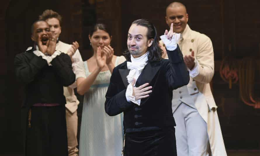 Hamilton creator Lin-Manuel Miranda, foreground, during his final performance of his musical on Broadway.