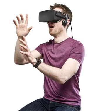 A man wearing an Oculus Rift
