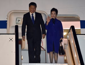 Chinese President Xi Jinping and his wife Peng Liyuan arrive for a four-day state visit.