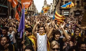Catalan demonstrators in Barcelona, 2017.