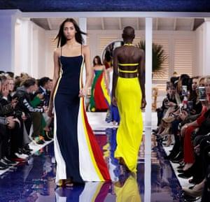 Dutch model Yasmin Wijnaldum wears a creation by Ralph Lauren.