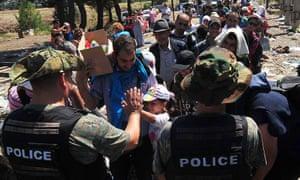 Migrants waiting at the border between Macedonia and Greece