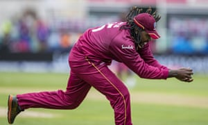 Chris Gayle of West Indies takes a catch to dismiss Imad Wasim of Pakistan.