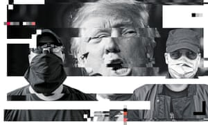 Graphic digitised treatment of images of Donald Trump and two masked crypto-anarchists