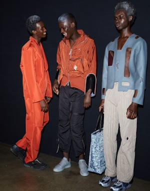 More of a statement than a straightforward presentation of clothes to wear next season, award-winning A Cold Wall* showed sharply cut streetwear alongside more performance art... and a barking doberman.