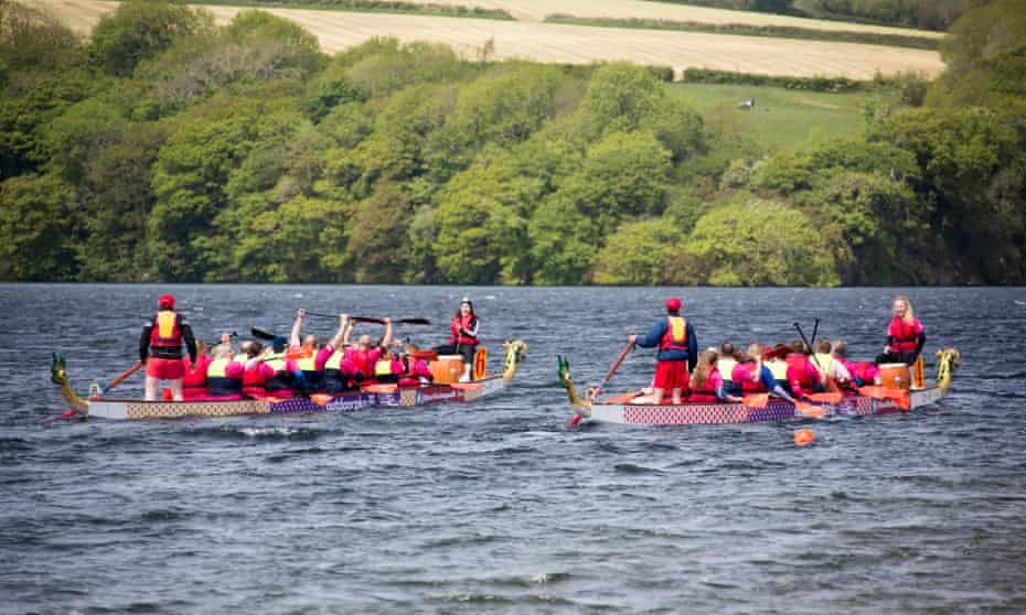 Dragon boat race on Llys-y-Fran reservoir.
