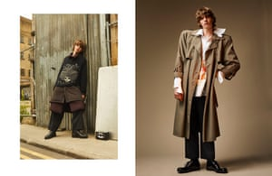 Right: T-shirt, £470, burgundy coat, £2,760, brown coat £1,890, trousers, £980, and boots, £1,280, by Yohji Yamamoto Left: Shirt, £710, trousers, £710, socks, £70, and shoes, £725, by Prada. Trenchcoat, £15, by Beyond Retro