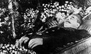 Joseph Stalin lying in state at Trade Union House, Moscow, 1953.