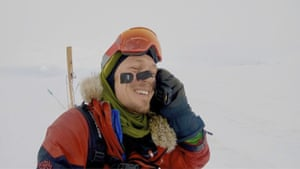 Colin O'Brady speaks on the phone in Antarctica.