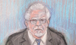 A court artist sketch of Rolf Harris who appeared by video link at Southwark crown court in London, where he is accused of indecently assaulting seven women and girls between 1971 and 2004 .