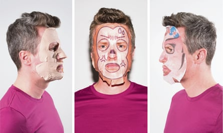 Multi-masking … Justin Myers tries a variety of face masks