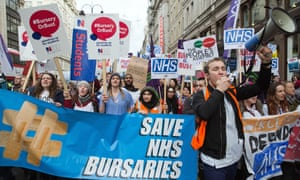 Student nurses march against plans to take away bursaries in 2016. These are now being partially restored