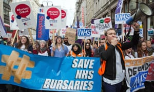 Student nurses and health workers protesting in January against the plans to scrap the NHS bursary.